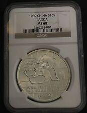 China 1989 S10Y Silver Panda NGC MS-68 .999 Fine Silver RARE!!! Bullion
