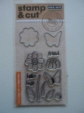 HERO ARTS STAMP & CUTS BUTTERFLY & FLOWER CLEAR STAMPS WITH MATCHING DIE-CUTS