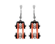 Woman's Biker Stainless Steel Bike Chain Earrings Black Orange USA Seller!