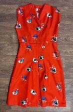 Original 1950s Vintage Red Floral Pencil Dress UK Size 12