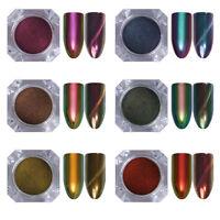 NICOLE DIARY Chameleon Cat Eye Nail Gliter Powder Dust Magnetic Mirror Paillette