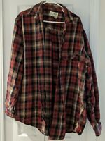 Eddie Bauer Button Down Flannel Plaid Long Sleeve Red White Men's Shirt Sz L