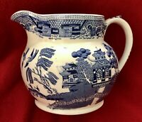 """RIDGWAYS ENGLAND BLUE WILLOW PITCHER 5"""" TRANSFER WARE PAGODA WATER VINTAGE HTF"""