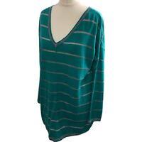 East Women's Jumper Top Tunic Relaxed Green Cotton Linen sz Small S 10 12 14
