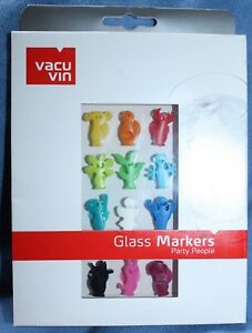 VACU VIN GLASS MARKERS, PARTY PEOPLE, WINE, DRINK CHARMS, NEW IN BOX
