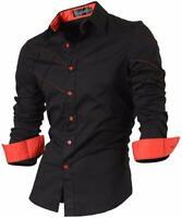Jeansian Men's Long Sleeve Slim Fit Dress Shirt Casual Hombre Camisa 2028 Black2