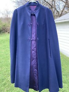 Vintage Handmade Navy Blue Cape With Purple Satin Lining And Frog Closures