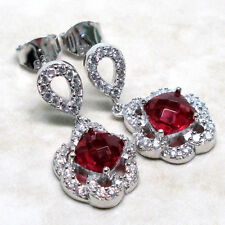 LUXURIOUS 2 CT RUBY 925 STERLING SILVER STUD EARRINGS