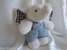 Doudou éléphant blanc et marine, grelot, Nounours