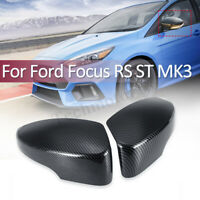 Pair Carbon Fiber Color Rearview Mirror Cover Cap For Ford Focus RS ST MK3