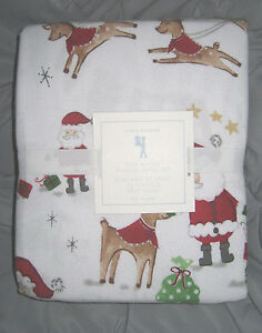 NWT Pottery Barn Kids North Pole Santa  FLANNEL TWIN SHEET SET  ~ HOLIDAY