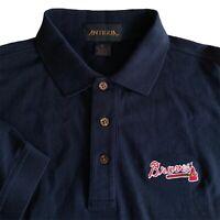 Mens M Antigua Blue Atlanta Braves Cotton Short Sleeve Golf Polo Shirt Medium