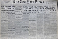 1-1941 WWII January 25 ROOSEVELT MEETS HALIFAX IN BAY AS HE ARRIVE ON BATTLESHIP
