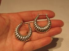 Vintage Sterling Silver Tapered Shrimp Hoop Earrings 1 1/2 Inch