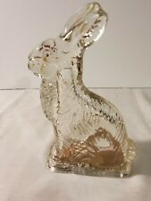 """Vintage J.H Millstein Clear Glass Bunny Rabbit candy holder Jeannette PA 6-3/8"""""""