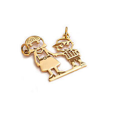 14k Pure Solid Yellow Gold Mom Son Beautiful Family Charm Pendant