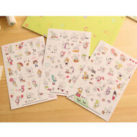 6 Sheets Cartoon DIY Calendar Diary Book Sticker Scrapbook Decoration Planner WB