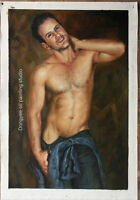 """Original oil painting on canvas male nude handsome men handmade painting 24""""x36"""""""
