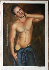 "Original oil painting on canvas male nude handsome men handmade painting 24""x36"""