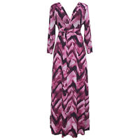 Women Long Sleeve Maxi Dress V Neck Sexy Casual Party New Belt Lace Up Plus Size