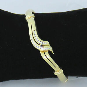 NYJEWEL New 14k Yellow Gold Diamond Bangle Bracelet