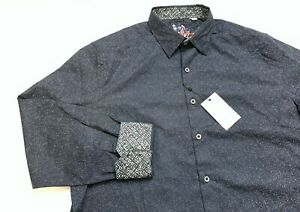 Robert Graham Men's Beehler Navy Blue Long Sleeve Shirt 2XL XXL $198 NWT