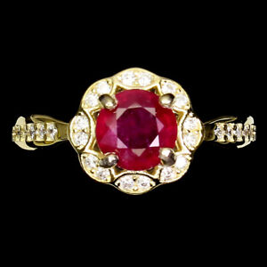 Round Red Ruby 6mm Cz 14K Yellow Gold Plate 925 Sterling Silver Ring Size 5