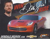 """2016 DALE EARNHARDT JR """"WIN DALE JR'S RIDE"""" NASCAR POSTCARD"""