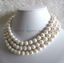 """2016 Natural beauty10-11mm White Fresh Water Pearl Necklace  Jewelry 64"""""""