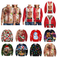 3D Print Christmas Sweater Ugly Women Men Xmas Jumper Sweatshirt Pullover Tops