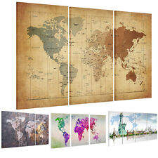World Map Wall Decor Framed Ready To Hanging Canvas Prints Picture Art Painting