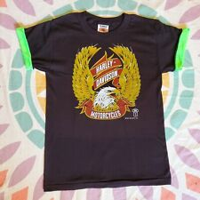 New listing Vintage 80s Harley Davidson black T-Shirt Neon green cuffed short sleeves 1987