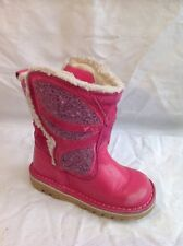 Girls Kickers Pink Leather Boots Size 25