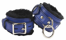 """Wrist Restraints Blue with Black Faux Fur Linning Genuine Leather """"NEW"""""""