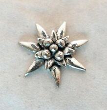 Edelweiss Flower Pin Badge in Fine English Pewter, Handmade