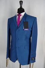 Men's Scott By The Label Blue Mod Mohair Slim Fit Suit 46R W41 L30 VB189
