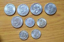 LOTTO 9 MONETE STATI UNITI DOLLARO MEZZO DOLLARO 1971 1972 1974 1976 ARGENTO