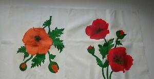 "4 Square Vintag 18"" x18""  Linen Pre Cut Fabric Hand Painted  Pattern Flowers Lot"