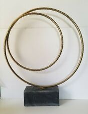 "Modern Gold Iron Two Sphere  With Marble Base 25"" Tall"