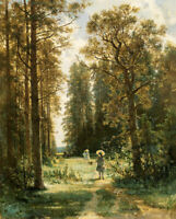 Dream-art Oil painting shishkin 希施金风景作品 林中小路 A path in the woods landscape art