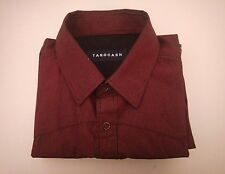 Tarocash Mens Shirt Red and Black Pin Striped Pearl Snap Button Size M A16