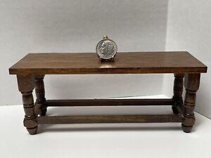 Vintage Artisan Wood Tudor Feast Kitchen Table Dollhouse Miniature 1:12