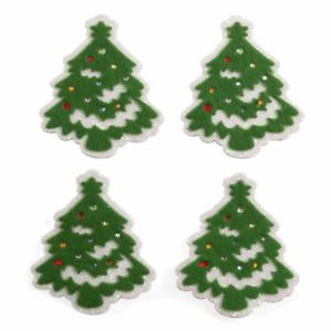 4 x Felt Snowy Xmas Trees - Self Adhesive Christmas Craft Embellishments