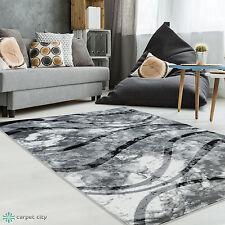 Tapis moderne design salon Inspiration Banderol Vagues gris crème NEUF