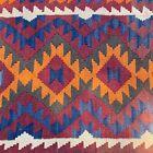 Handmade Colorful Afghan Kilim Runner,Geometric & Tribal Design,Natural Dyes 3x9