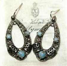silver tone dangle earrings pierce Czech 1950s turquoise coloured stone