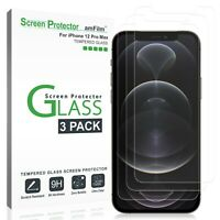 """amFilm iPhone 12 Pro Max Screen Protector (3 Pack) - Tempered Glass Film (6.7"""")"""