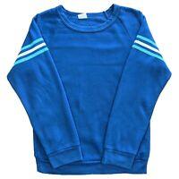 Vintage Favorites Blue Sweatshirt Jumper White Striped Sleeves - Women's Small