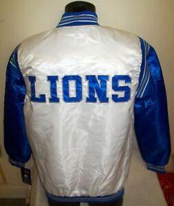 DETROIT LIONS Starter Throwback Snap Down Jacket S M L XL 2X WHITE