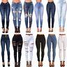 DONNA STRETCH STRAPPATO sdrucito attillati a Vita Alta pantaloni denim jeans